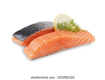 raw salmon fillet isolated on white background with clipping path