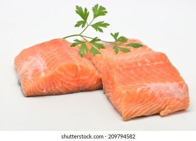 raw salmon fillet isolated on white background