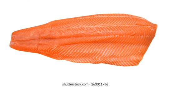raw salmon fillet isolated over white background