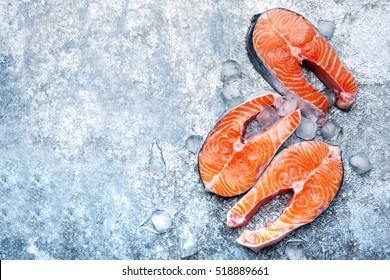 raw salmon fish steak