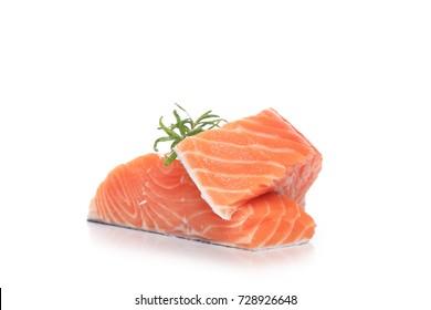 Raw salmon isolated