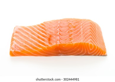 Raw salmon meat isolated on white background