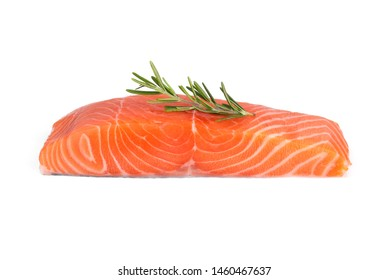 raw salmon piece with rosemary isolated on white background