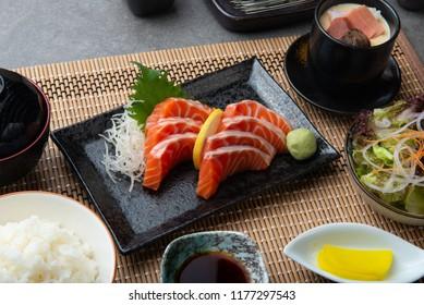 Raw salmon slice or salmon sashimi in Japanese style fresh serve