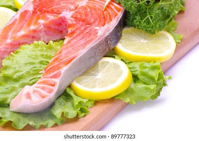 raw salmon and spices isolated