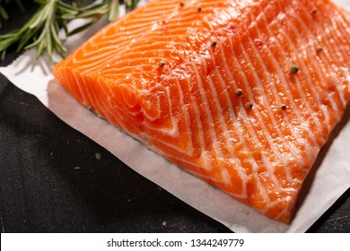 Raw salmon steak, food close-up