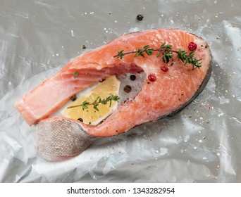 88c9d43ade69 Raw salmon steak. Fresh trout steak with peppercorns