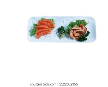 raw salmon and tourch burn salmon sashimi in plate isolated on white background