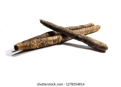Raw salsify isolated on white background