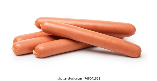 raw sausages on a white background