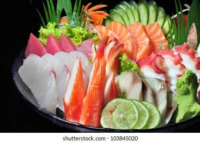 Raw seafood sashimi set crop