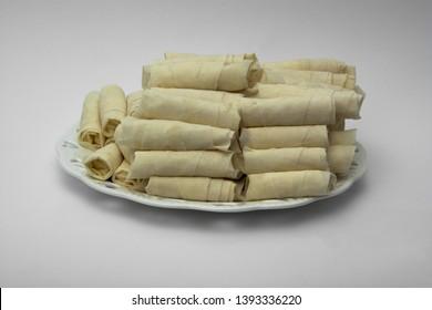 Raw Sigara Boregi dough rolls filled