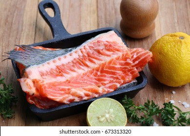 raw slice of salmon