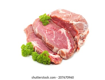Raw sliced of beef meat or ribeye isolated on white