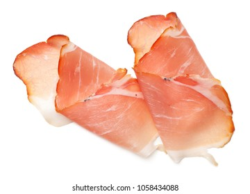 Raw smoked black forest ham isolated on white background. Top view