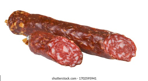 raw smoked sausage isolated on a white background