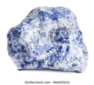 Raw sodalite stone isolated on white with clipping path