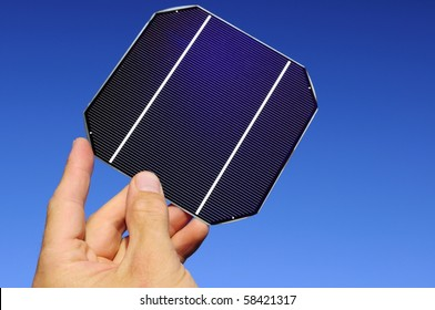 Raw solar cell in a hand