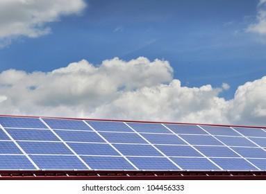 Raw of solar panels