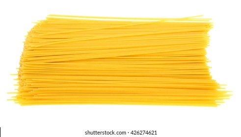 Raw spaghetti isolated on a white background