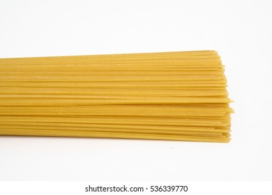 raw spaghetti isolated on white background