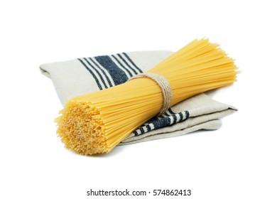 Raw Spaghetti isolated on white