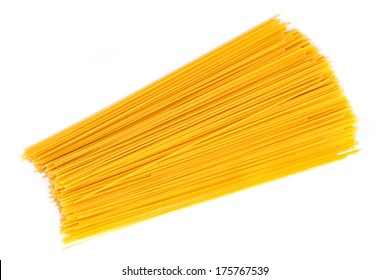 Raw spaghetti on white background.
