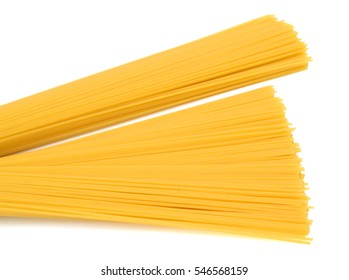 Raw spaghetti on white background