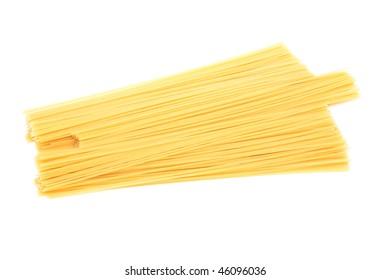 raw spaghetti pasta isolated on white