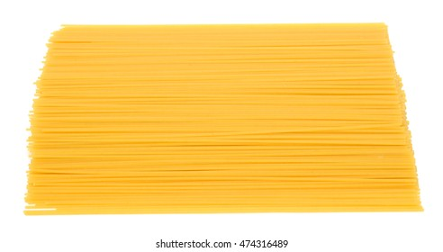 raw spaghetti pasta, isolated on white background