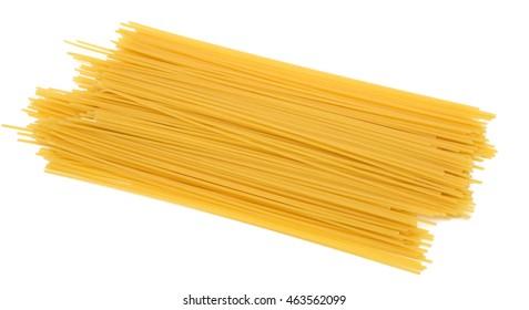 Raw spaghetti Pasta on white