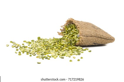 Raw Split Mung Bean Lentils or Mung Daal in a Bag isolated on White Background