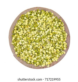 Raw Split Mung Bean Lentils or Mung Daal isolated on White Background