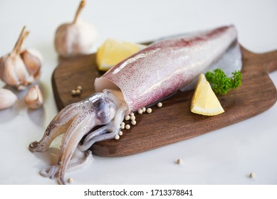Raw squid on cutting board with salad spices lemon garlic on the white plate background / fresh squids octopus or cuttlefish for cooked food at restaurant or seafood market