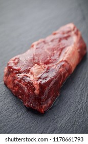 Raw steak for cooking. Top view
