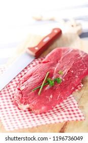 raw steak on white