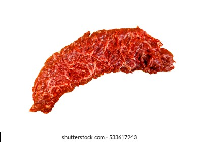 """Raw steak """"Skirt"""", """"butcher's steak"""" or """"Machete,"""" the beef lies on a white background. Marbled meat. It's the marble and the soft steak in beef."""