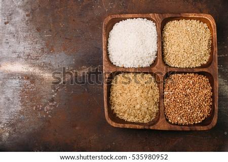Raw Sushi Rice Brown Rice Bulgur Stock Photo Edit Now 535980952