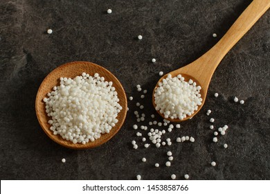 Raw tapioca pearls on a table