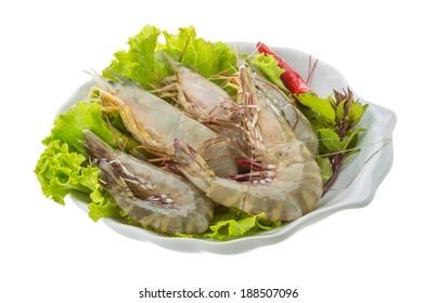 Raw tiger shrimps isolated on white background