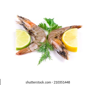 Raw tiger shrimps on plate. Whole background.