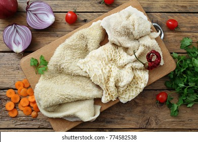 raw tripe rustic background