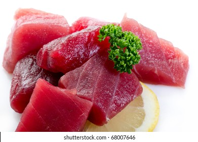 raw tuna on white background