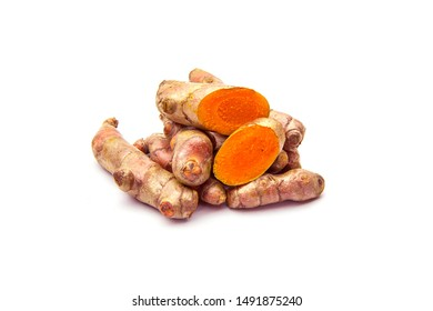 Raw turmeric (Curcuma longa Linn) ingredients for making herbal medicine isolated on white background.