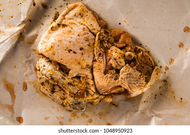 Raw uncooked chicken white meat ajillo