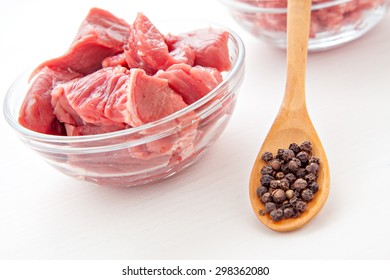 raw uncooked meat food isolated at white background