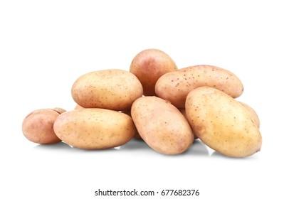 Raw unpeeled potatoes on white background