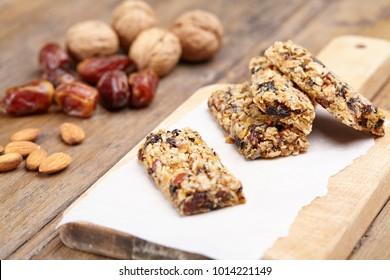 Raw vegan bars on a wood table
