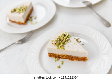 Raw Vegan Cheesecake with Carrot Cake Crust and Pistachios
