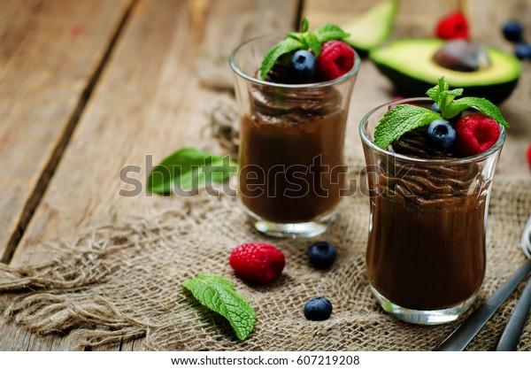 Raw vegan chocolate avocado pudding. the toning. selective focus